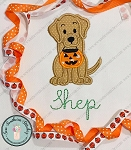 Labrador Dog with Halloween Bucket Applique Design ~ Halloween Applique Design